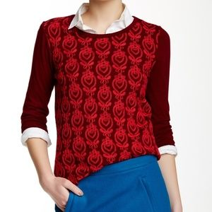 J.crew M Embroidered front red shirt 3/4 sleeves